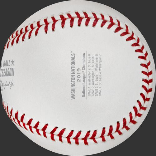 The scores from all for games of the 2019 NLCS stamped on a NLCS19CHMP National League Champions baseball