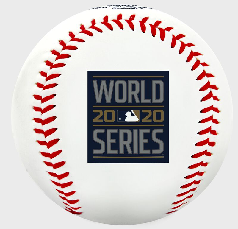 The 2020 World Series logo stamped on a replica baseball - SKU: 35010032282