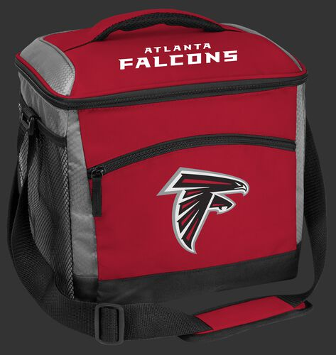 A red Atlanta Falcons 24 can soft sided cooler with a team logo on the front - SKU: 10211060111