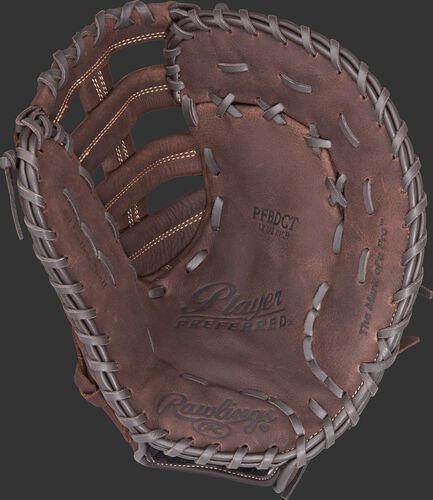 PFBDCT Rawlings Player Preferred recreational baseball/softball first base mitt with a brown palm and brown laces