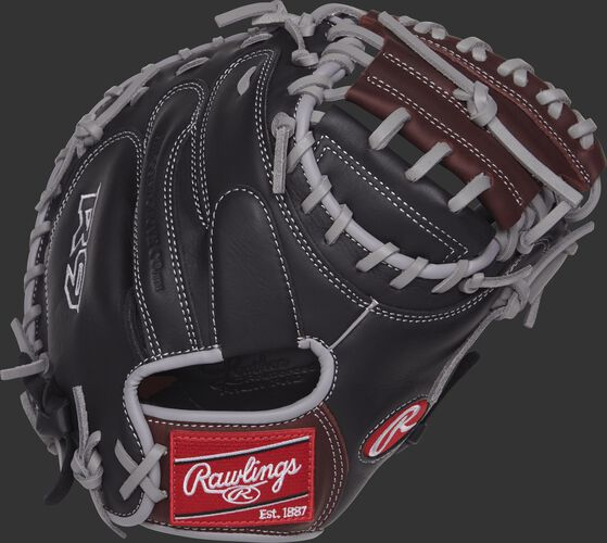 R9CM325BSG 32.5-inch R9 Series catcher's mitt with a black back and grey binding