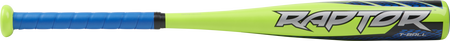 Barrel of a lime green TBZR12 Rawlings 2020 Raptor t-ball bat with grey, black and blue accents