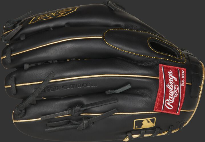 Black fingerbacks of a R9 Series outfield glove with a red Rawlings patch and MLB logo on the pinkie - SKU: R96019BGFS