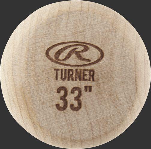 Natural wood color knob of a JT10PL Rawlings Justin Turner wood bat