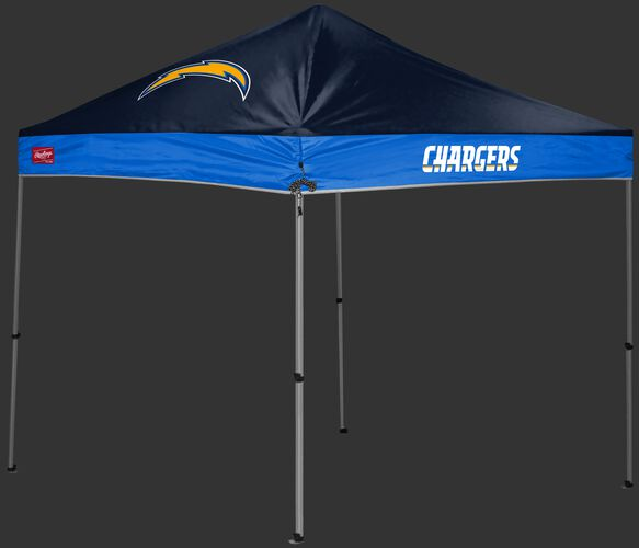 A navy/light blue Los Angeles Chargers 9x9 shelter with a team logo on the left side - SKU: 03231083113