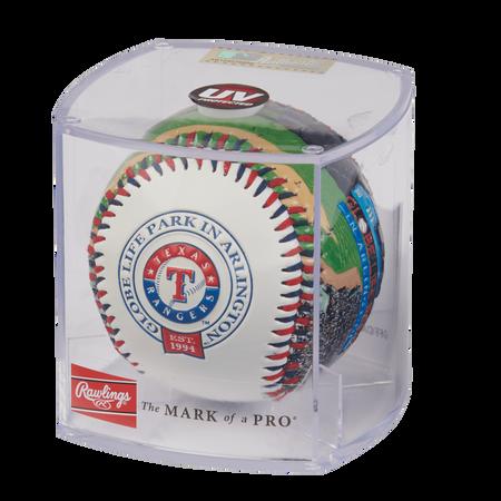 MLB Texas Rangers stadium baseball in a display case