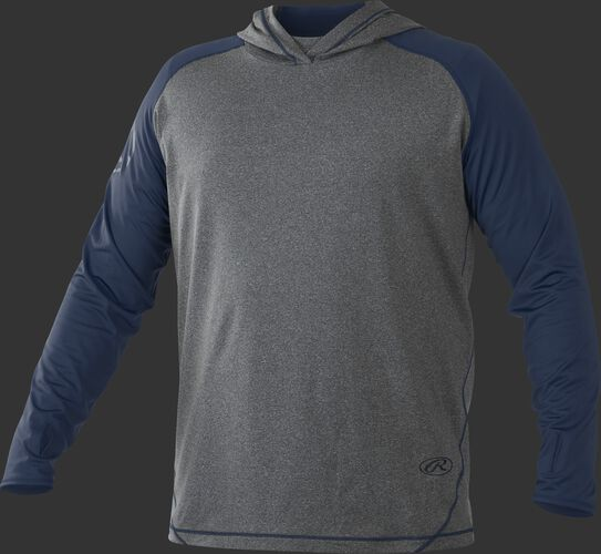 Front of Rawlings Navy/Gray Adult Hurler Lightweight Hoodie - SKU #HLWH-GR/B-88