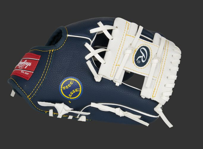 Thumb of a navy/white Milwaukee Brewers 10-Inch team logo glove with a white I-web - SKU: 22000006111