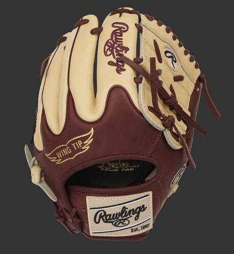 Sherry Wing Tip back of a Heart of the Hide infield/pitcher's glove with camel finger backs - SKU: PRO205-9CSH