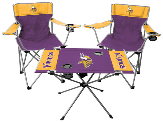 Front of Rawlings Purple and Yellow NFL Minnesota Vikings 3-Piece Tailgate Kit With Two Kickoff Chairs, An Endzone Table, And A Transport Bag With Team Logo SKU #01041075511