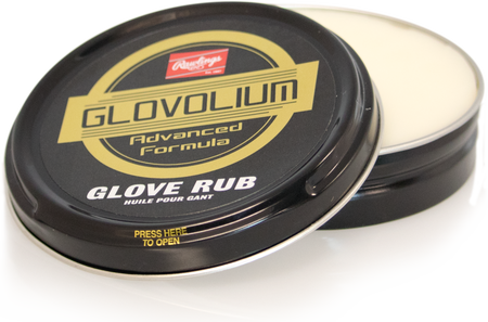 A round Rawlings Glovolium Glove Rub for cleaning and conditioning gloves