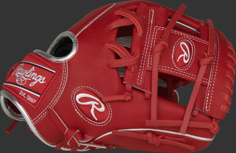 Scarlet thumb of a 2020 exclusive HOH R2G ContoUR fit infield glove with a scarlet I-web - SKU: PROR204U-2SW