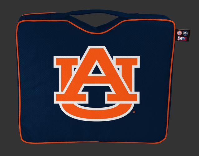 A navy blue NCAA Auburn Tigers bleacher cushion with the team logo printed on the top