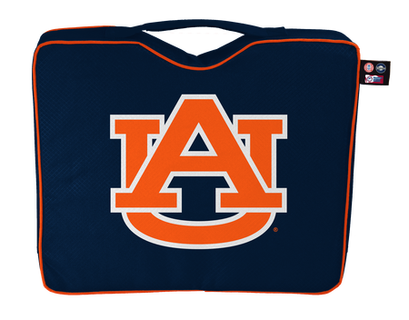 A navy blue NCAA Auburn Tigers bleacher cushion with the team logo printed on the top