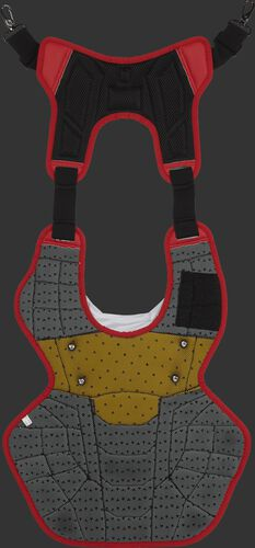 Back of a scarlet/white CPV2N intermediate Ralwings Velo 2.0 chest protector with yellow backing for NOCSAE Certified