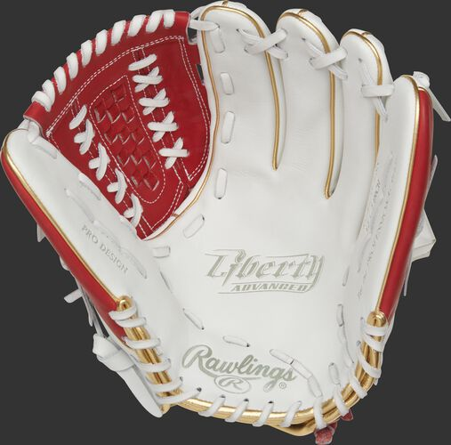 RLA125-18S Rawlings Liberty Advanced Color Series glove with a white palm and white laces