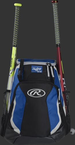 A black/royal R500 Rawlings equipment backpack with a bat on each side