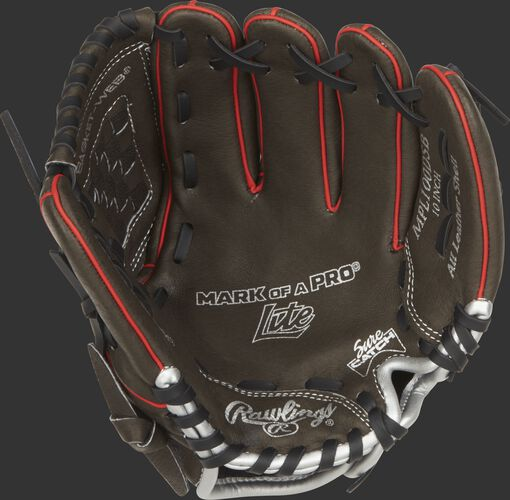 MPL100DSB Rawlings 10-inch youth baseball glove with a dark shadow palm, black laces and Sure Catch design