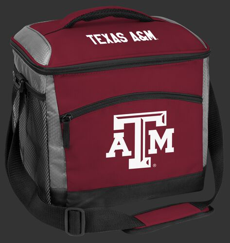 A maroon Texas A&M Aggies 24 can soft sided cooler with screen printed team logos - SKU: 10223061111