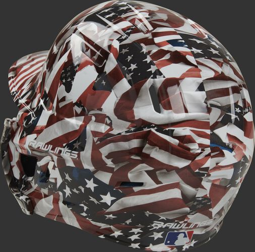 Back left of a MACHEXTR-DCMO Rawlings Mach EXT hydro dipped baseball helmet for right hand batters