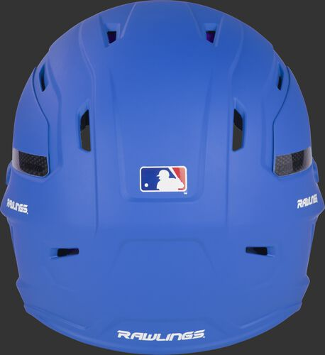 Back of a matte royal CAR07A Rawlings batting helmet with the Official Batting helmet of MLB logo