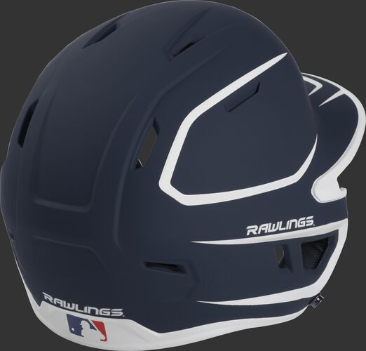Back right of a two-tone matte navy/white MACH Rawlings senior size batting helmet