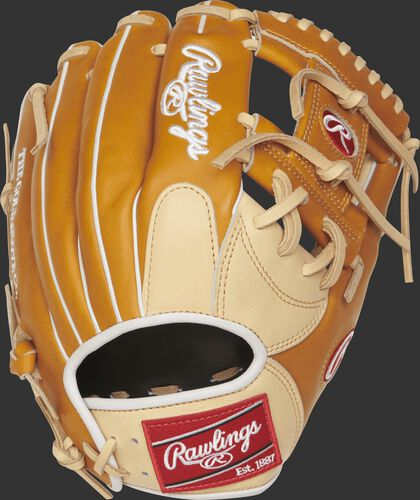 Back view of a tan PRONP4-2CTW Heart of the Hide 11.5-inch Infield glove with a camel finger pad