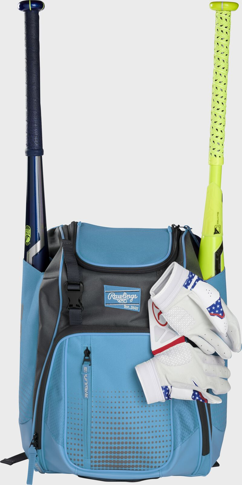 A Columbia blue Franchise backpack with two bats in the sides and batting gloves on the front Velcro strap - SKU: FRANBP-CB
