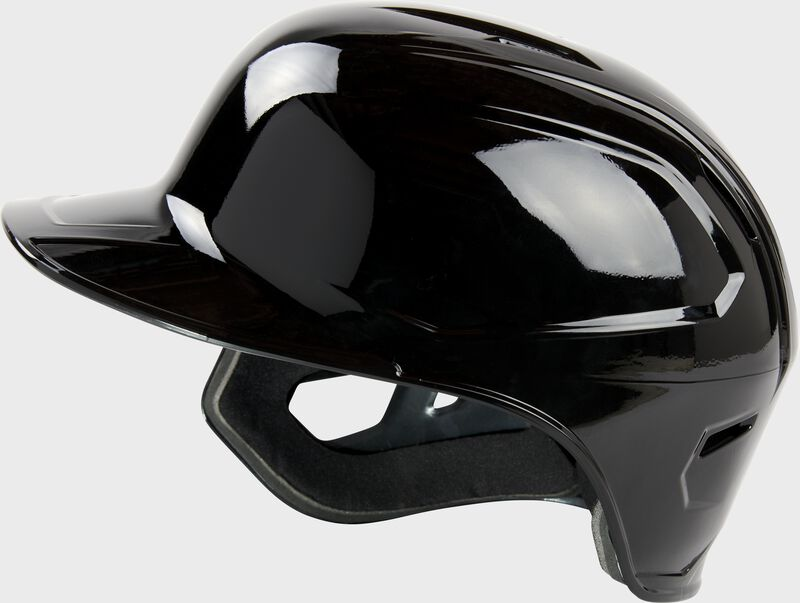 Left side of a Rawlings Mach single ear batting helmet with no ear flap on the left side - SKU: MSE01A-LHB