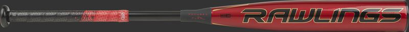 BBZQ3 Rawlings Quatro Pro High School/College baseball bat with a red barrel and black/red Lizard Skins grip