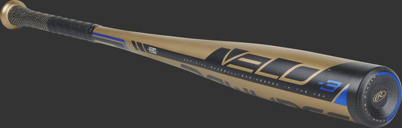 3/4 angle view of a BB9V3 -3 BBCOR Velo bat with a gold barrel and black/blue accents