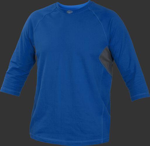 Front of Rawlings Royal Youth 3-Quarter Length Sleeve Shirt - SKU #YRS34