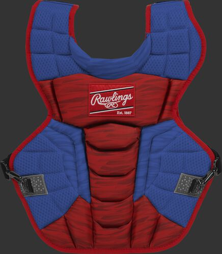 A scarlet/royal CPV2N Rawlings Velo 2.0 adult chest protector with a striped pattern