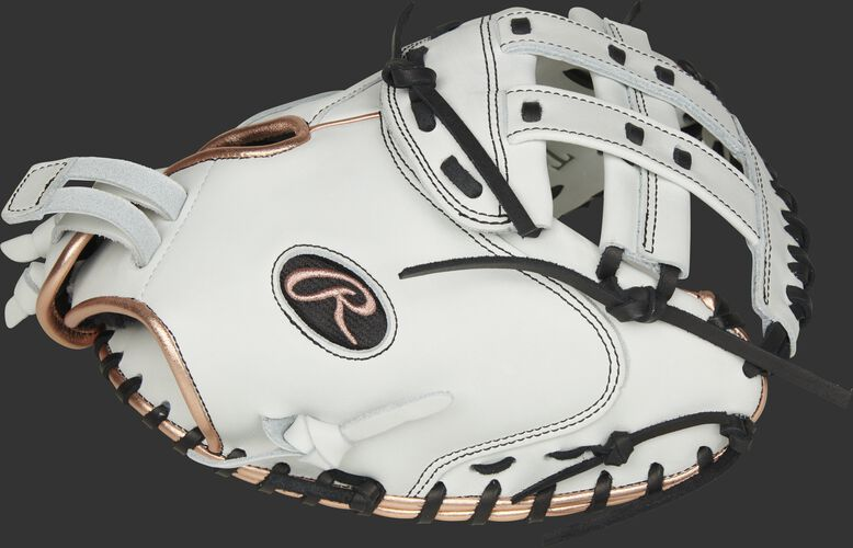 Thumb of a white RLACM33FPRG Liberty Advanced Color Series 33-inch catcher's mitt with a white H web