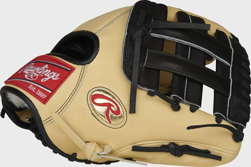 Camel thumb of a Gameday 57 Series Brandon Crawford 11.5-inch Pro Preferred glove with a black H-web - SKU: PRO204-BC35