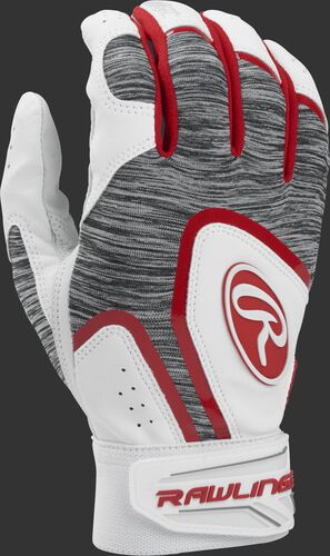 A white 5150WBG-S youth 5150 batting glove with a heather grey back and scarlet trim