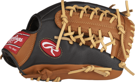 P115GBMT Prodigy 11.5-inch youth infield/pitcher's glove with a black thumb and golden brown trim and Modified Trap-Eze web