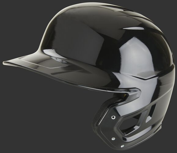 A black Mach single ear right handed batting helmet - SKU: MSE01A-B-RHB