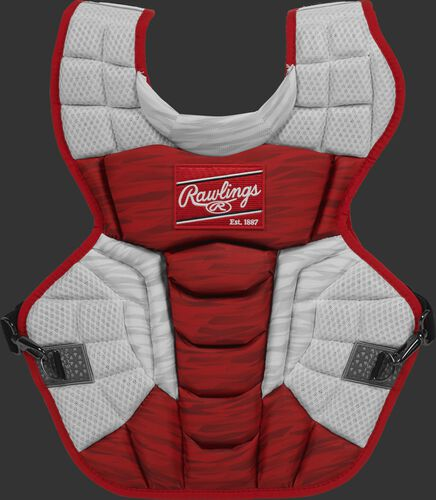 A scarlet/white CPV2N Rawlings Velo 2.0 intermediate chest protector with a striped pattern