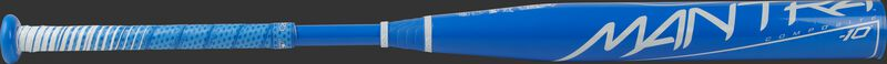 A light blue Rawlings Mantra fastpitch bat with a white Mantra logo on the barrel - SKU: FP1M10