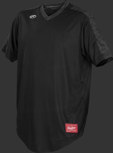 Front of Rawlings Black Youth Short Sleeve Launch Jersey  - SKU #YLNCHJ-DG-89