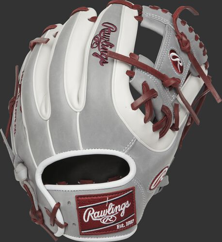Back view of a Rawlings PRO315-2SHW Heart of the Hide I web glove with grey and white finger stalls and white double-welting