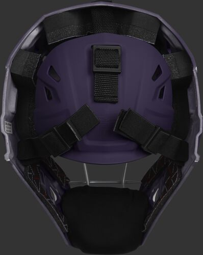 Adjustable back plate of a purple CHV27J Velo 2.0 hockey style catcher's mask