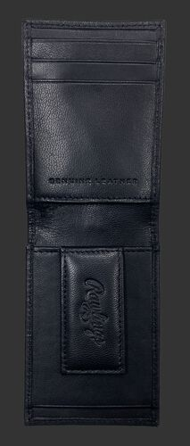 Inside of a black debossed stitch front pocket wallet with a magnetic money clip on the bottom - SKU: RPW009-001