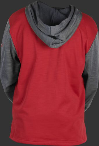 Back of a scarlet youth long sleeve fleece hoodie with a gray hood and sleeves - SKU: YPFH2PRBB-S/GR