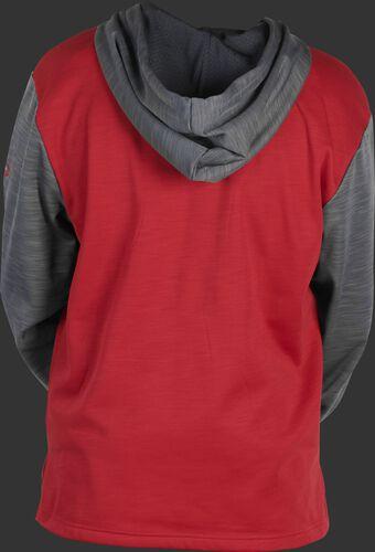 Back of a scarlet fleece hoodie with gray sleeves and hood - SKU: PFH2PRBB-S/GR