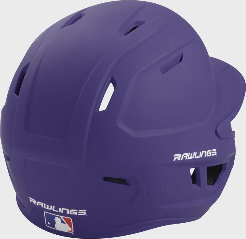 Back right of a one-tone matte purple MACH Rawlings batting helmet