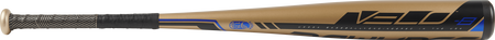 Barrel view of a UT9V8 2019 Velo USSSA baseball bat with a gold barrel and gold/black batting grip