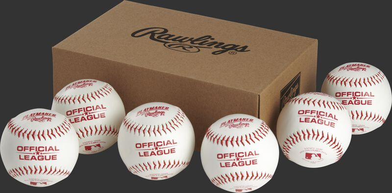 6 Rawlings Playmaker baseballs in front of a box - SKU: PMBBPK6