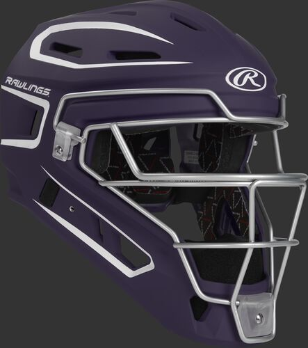 Front right of a purple CHV27J Rawlings Velo 2.0 catcher's helmet